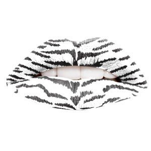 White Tiger Print Temporary Lip Tattoo