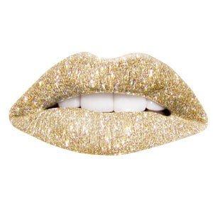 Gold Glitter Print Temporary Lip Tattoo
