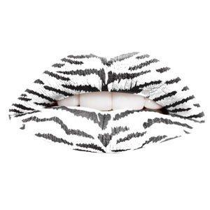 White Tiger Print Temporary Lip Tattoo
